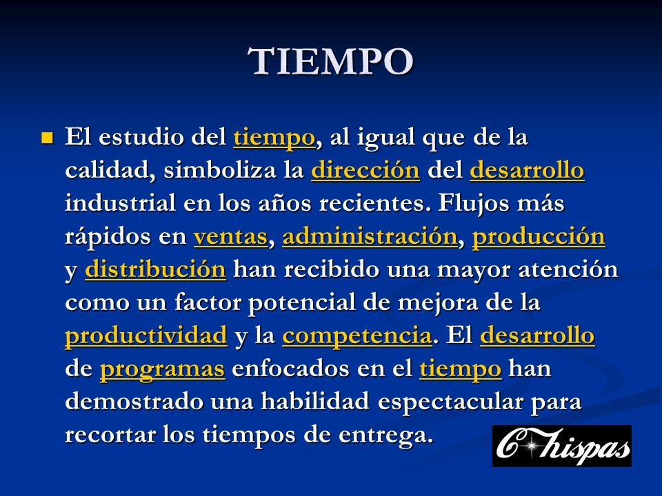 TIEMPO El estudio del tiempo, al igual que de la calidad, simboliza la dirección del desarrollo industrial en los años recientes.