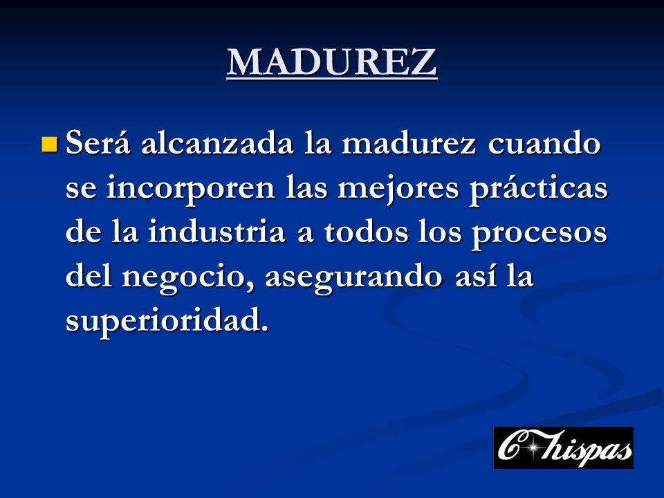 MADUREZ Será alcanzada la madurez cuando se incorporen las mejores prácticas de la industria a todos los procesos del negocio, asegurando así la superioridad.