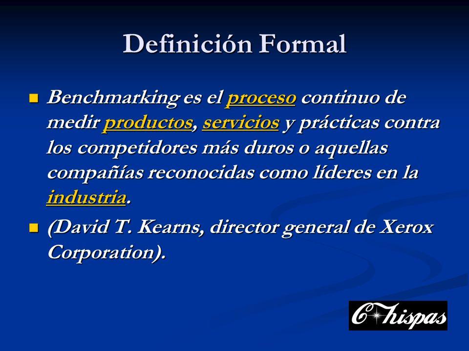 Definición Formal Benchmarking es el proceso continuo de medir productos, servicios y prácticas contra los competidores más duros o aquellas compañías reconocidas como líderes en la industria.