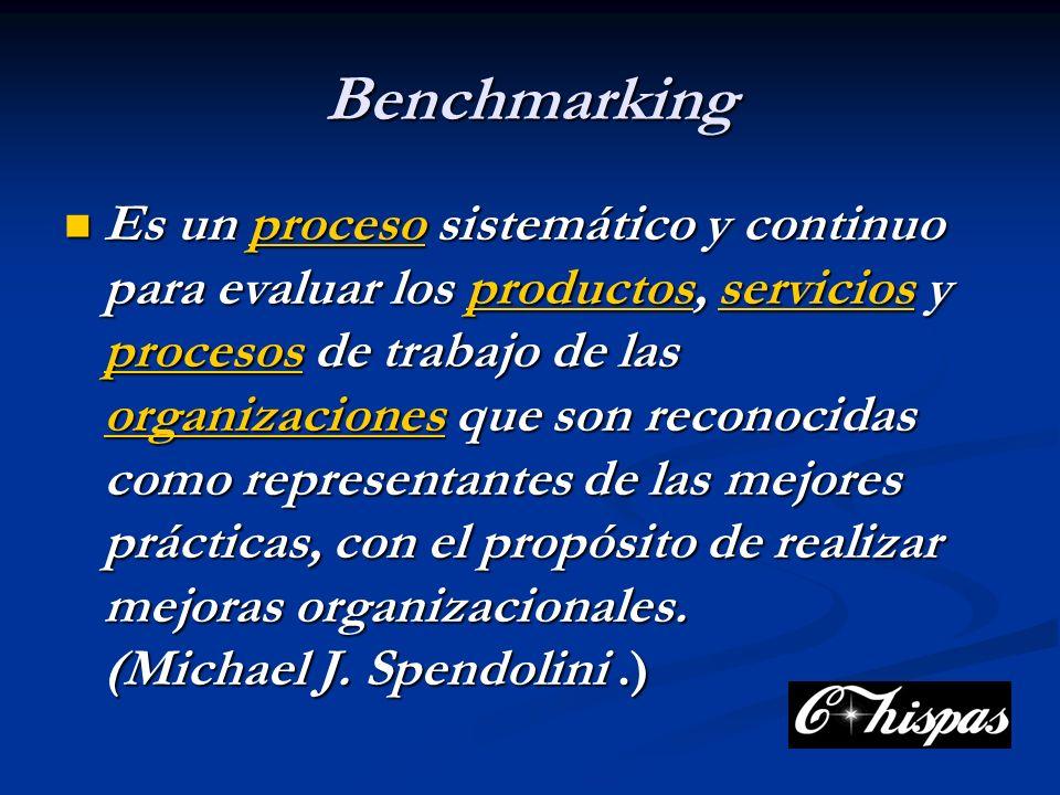 Benchmarking Es un proceso sistemático y continuo para evaluar los productos, servicios y procesos de trabajo de las organizaciones que son reconocidas como representantes de las mejores prácticas, con el propósito de realizar mejoras organizacionales.