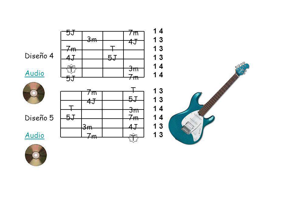 Diseño 4 Audio Diseño 5 Audio T 4J 5J 7m 3m 5J T 3m 7m 4J T 7m 5J T 3m 7m 4J 5J 7m 3m T 5J 1 4 1 3 1 4 1 3 1 4 1 3
