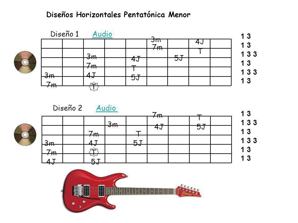 Diseños Horizontales Pentatónica Menor Diseño 1 AudioAudio Diseño 2 AudioAudio T 4J 5J T 3m 4J 7m 3m T 4J 7m 5J T 3m 7m 4J 7m 4J 7m 5J 3m 4J 3m 7m 5J