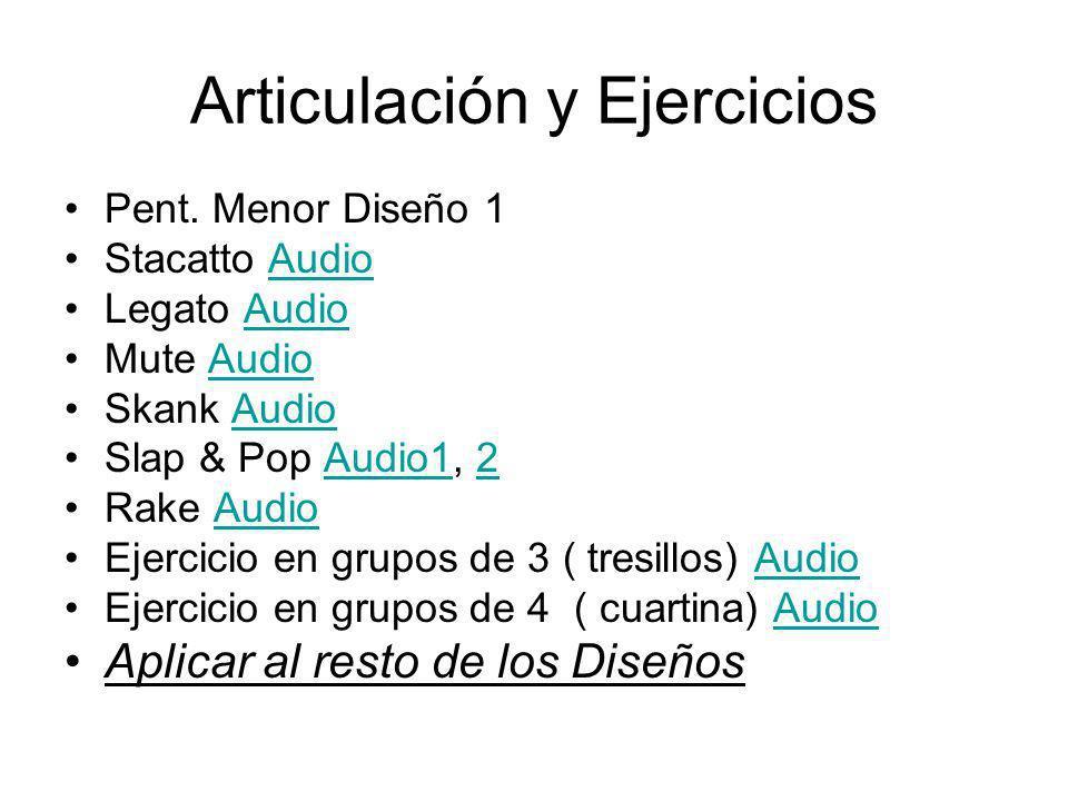 Articulación y Ejercicios Pent. Menor Diseño 1 Stacatto AudioAudio Legato AudioAudio Mute AudioAudio Skank AudioAudio Slap & Pop Audio1, 2Audio12 Rake