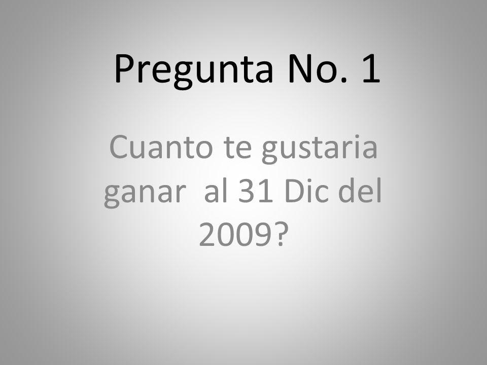 Pregunta No. 1 Cuanto te gustaria ganar al 31 Dic del 2009?