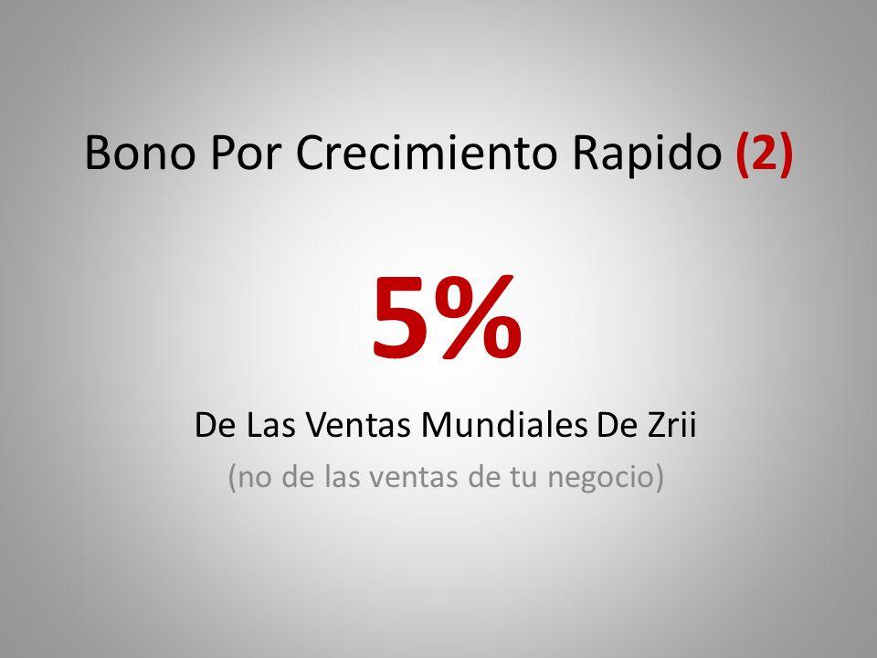 Bono Por Crecimiento Rapido (2) 5% De Las Ventas Mundiales De Zrii (no de las ventas de tu negocio)