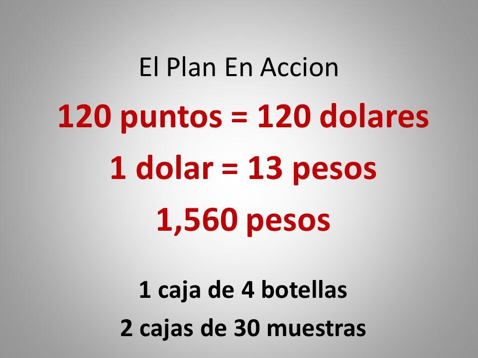 El Plan En Accion 120 puntos = 120 dolares 1 dolar = 13 pesos 1,560 pesos 1 caja de 4 botellas 2 cajas de 30 muestras