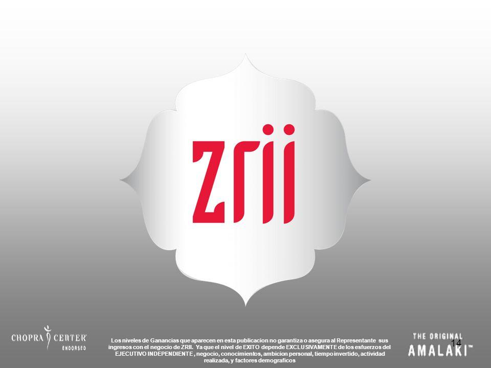 14 Los niveles de Ganancias que aparecen en esta publicacion no garantiza o asegura al Representante sus ingresos con el negocio de ZRII. Ya que el ni