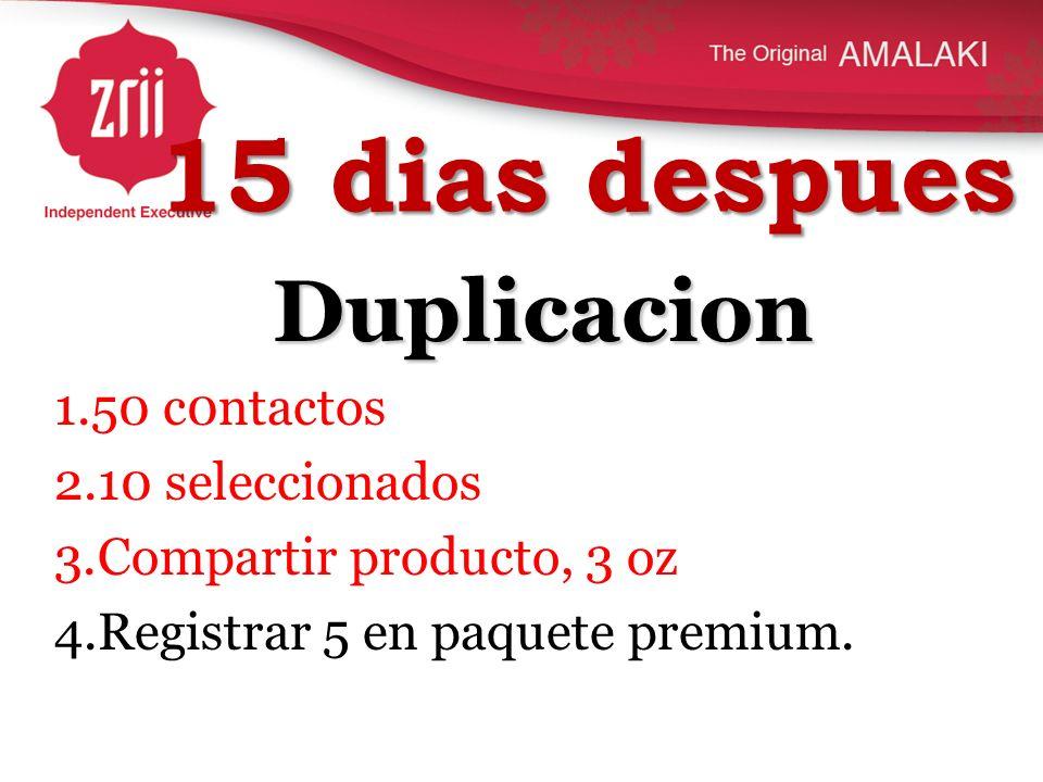15 dias despues Duplicacion 1.50 c0ntactos 2.10 seleccionados 3.Compartir producto, 3 oz 4.Registrar 5 en paquete premium.