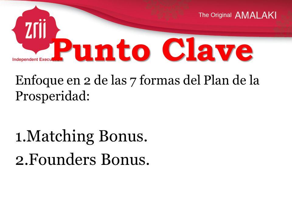 Punto Clave Enfoque en 2 de las 7 formas del Plan de la Prosperidad: 1.Matching Bonus. 2.Founders Bonus.