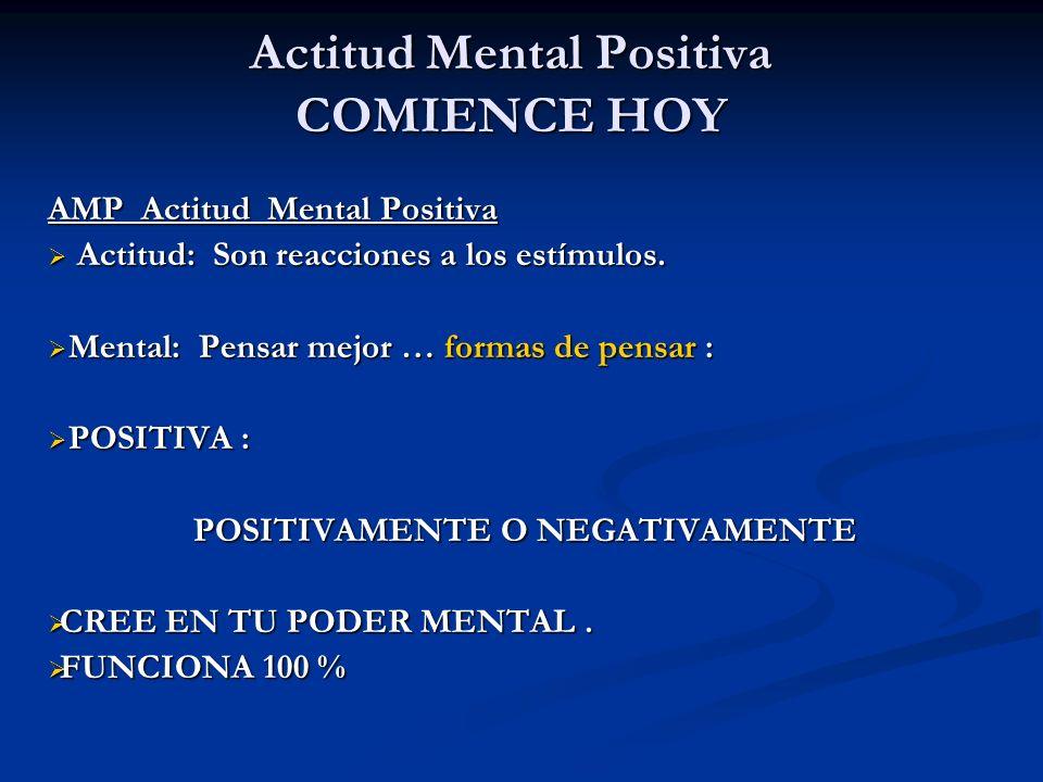 Actitud Mental Positiva COMIENCE HOY AMP Actitud Mental Positiva Actitud: Son reacciones a los estímulos. Actitud: Son reacciones a los estímulos. Men