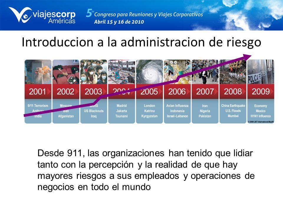 Introduccion a la administracion de riesgo Desde 911, las organizaciones han tenido que lidiar tanto con la percepción y la realidad de que hay mayore