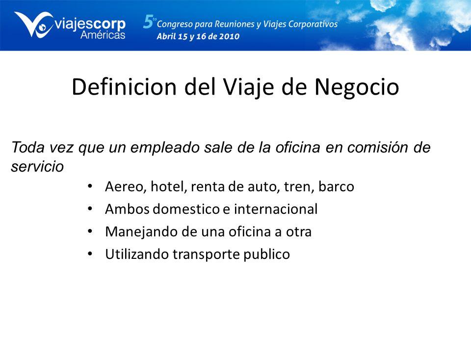 Definicion del Viaje de Negocio Aereo, hotel, renta de auto, tren, barco Ambos domestico e internacional Manejando de una oficina a otra Utilizando tr