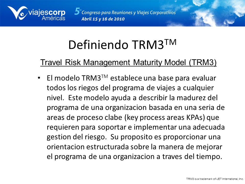 Definiendo TRM3 TM El modelo TRM3 TM establece una base para evaluar todos los riegos del programa de viajes a cualquier nivel. Este modelo ayuda a de