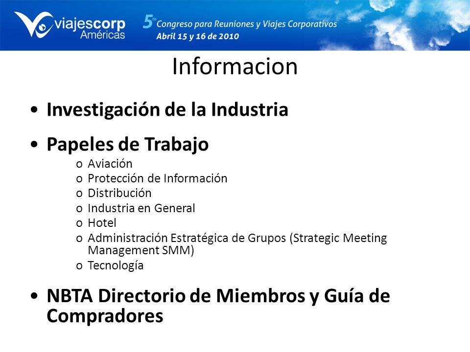 Informacion Investigación de la Industria Papeles de Trabajo oAviación oProtección de Información oDistribución oIndustria en General oHotel oAdminist