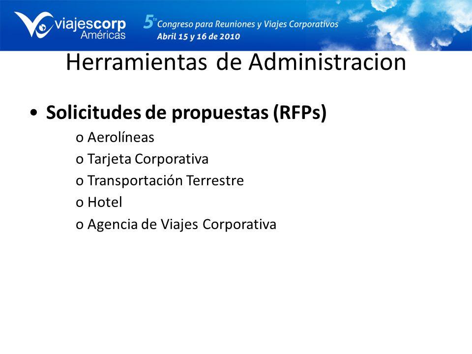 Herramientas de Administracion Solicitudes de propuestas (RFPs) oAerolíneas oTarjeta Corporativa oTransportación Terrestre oHotel oAgencia de Viajes C