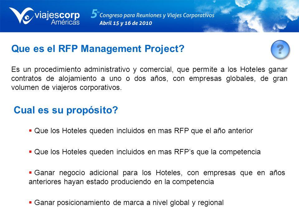 Que es el RFP Management Project? Es un procedimiento administrativo y comercial, que permite a los Hoteles ganar contratos de alojamiento a uno o dos