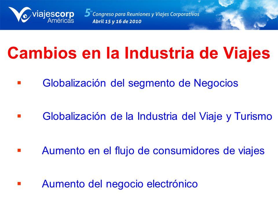 Cambios en la Industria de Viajes Globalización del segmento de Negocios Globalización de la Industria del Viaje y Turismo Aumento en el flujo de cons
