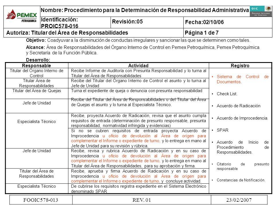 ResponsableActividadRegistro Titular del Órgano Interno de Control Recibe Informe de Auditoría con Presunta Responsabilidad y lo turna al Titular del