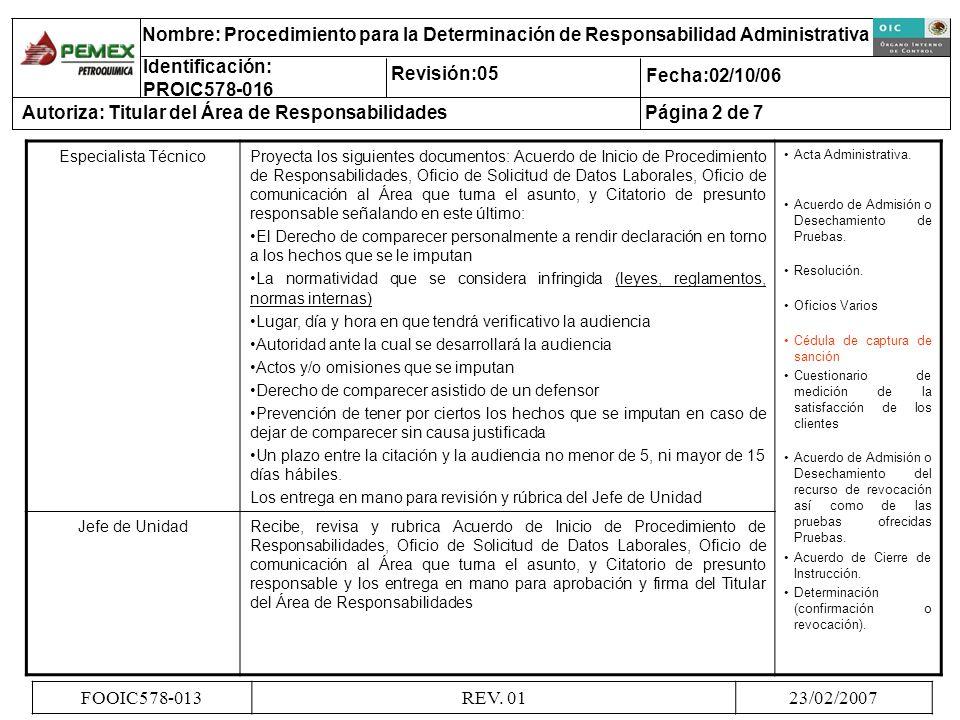 Especialista TécnicoProyecta los siguientes documentos: Acuerdo de Inicio de Procedimiento de Responsabilidades, Oficio de Solicitud de Datos Laborale