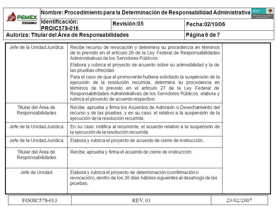 Jefe de la Unidad JurídicaRecibe recurso de revocación y determina su procedencia en términos de lo previsto en el artículo 26 de la Ley Federal de Re