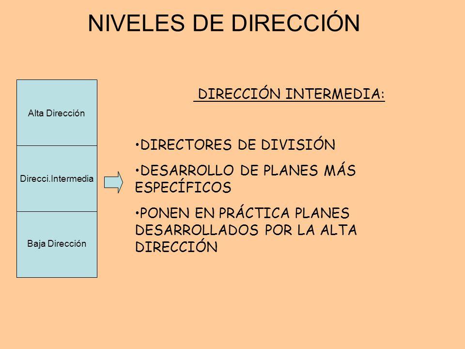 NIVELES DE DIRECCIÓN DIRECCIÓN INTERMEDIA: DIRECTORES DE DIVISIÓN DESARROLLO DE PLANES MÁS ESPECÍFICOS PONEN EN PRÁCTICA PLANES DESARROLLADOS POR LA A