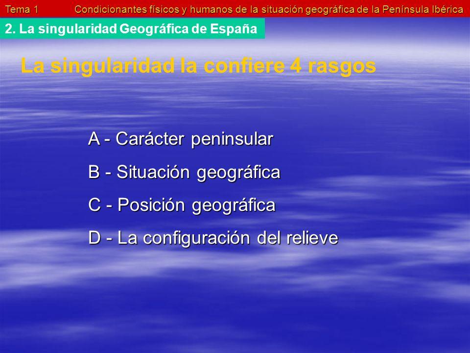 Tema 1 Condicionantes físicos y humanos de la situación geográfica de la Península Ibérica 2. La singularidad Geográfica de España La singularidad la