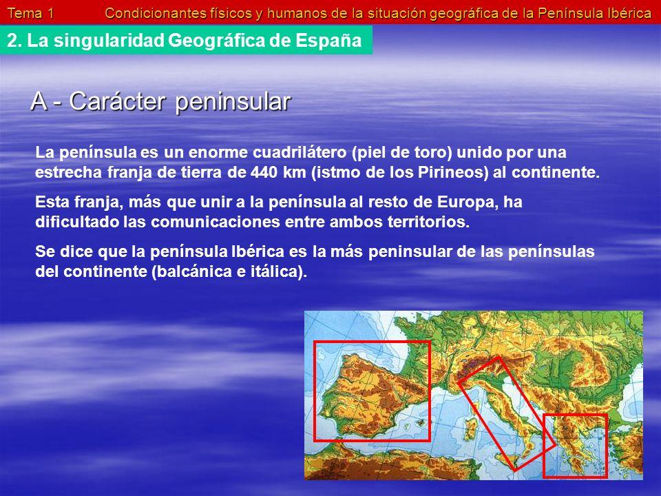Tema 1 Condicionantes físicos y humanos de la situación geográfica de la Península Ibérica 2. La singularidad Geográfica de España A - Carácter penins