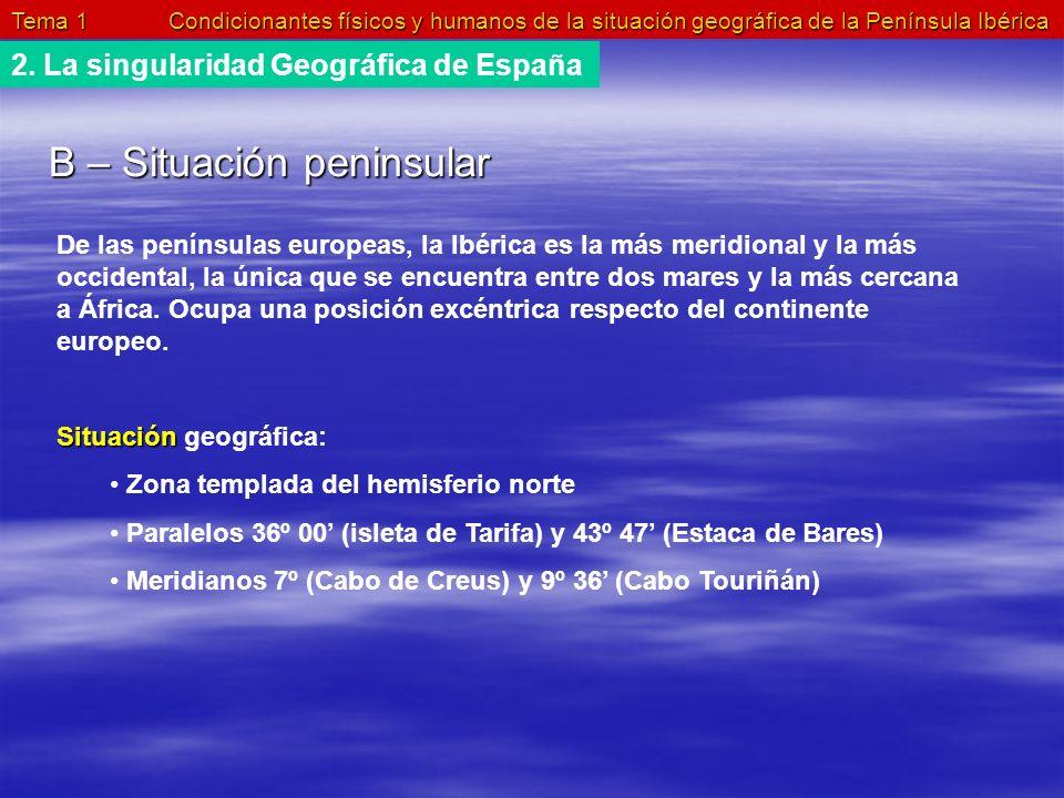 Tema 1 Condicionantes físicos y humanos de la situación geográfica de la Península Ibérica 2. La singularidad Geográfica de España B – Situación penin