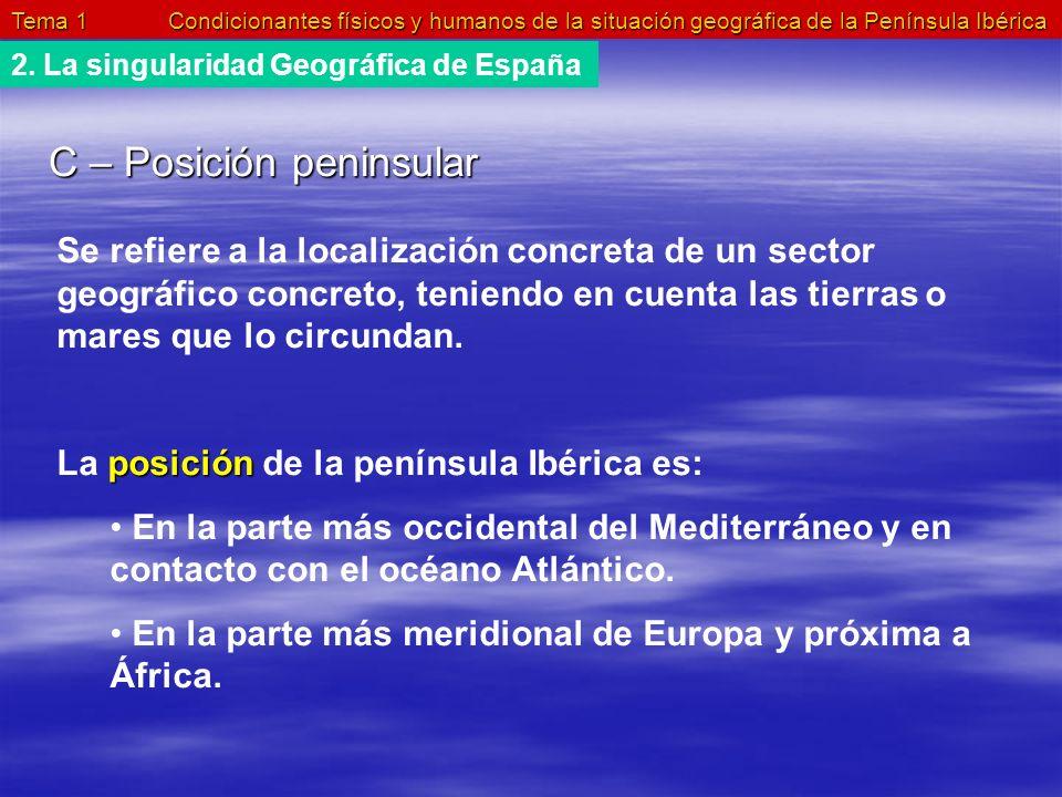 Tema 1 Condicionantes físicos y humanos de la situación geográfica de la Península Ibérica 2. La singularidad Geográfica de España C – Posición penins
