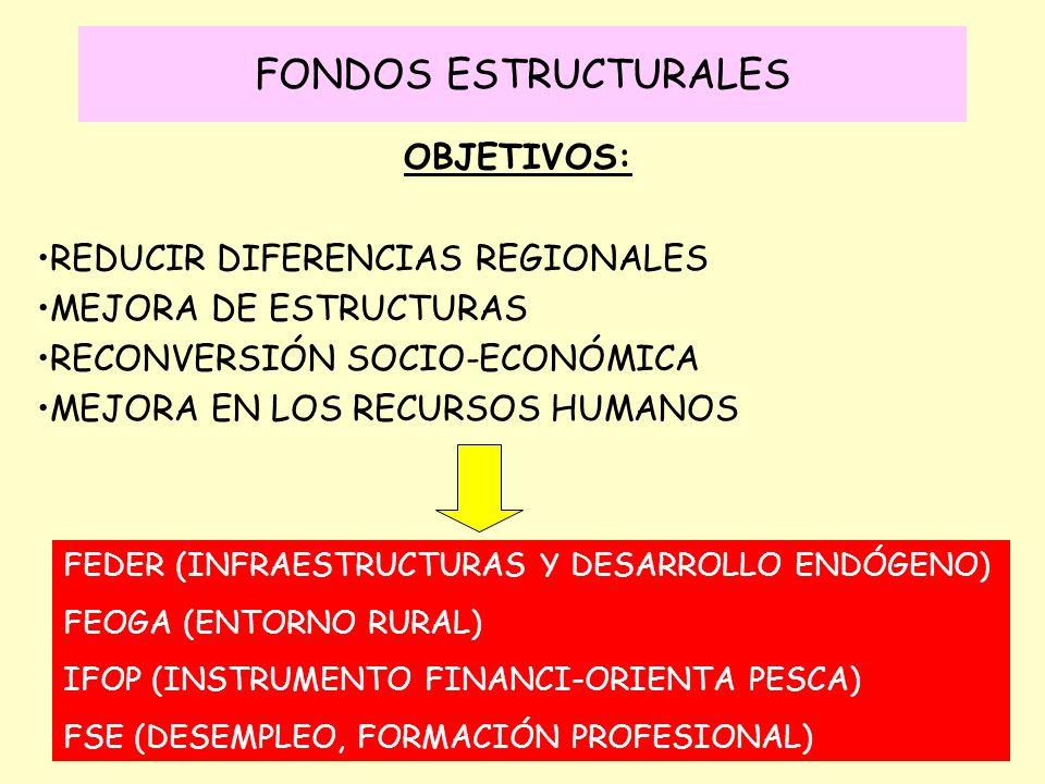 FONDOS ESTRUCTURALES OBJETIVOS: REDUCIR DIFERENCIAS REGIONALES MEJORA DE ESTRUCTURAS RECONVERSIÓN SOCIO-ECONÓMICA MEJORA EN LOS RECURSOS HUMANOS FEDER