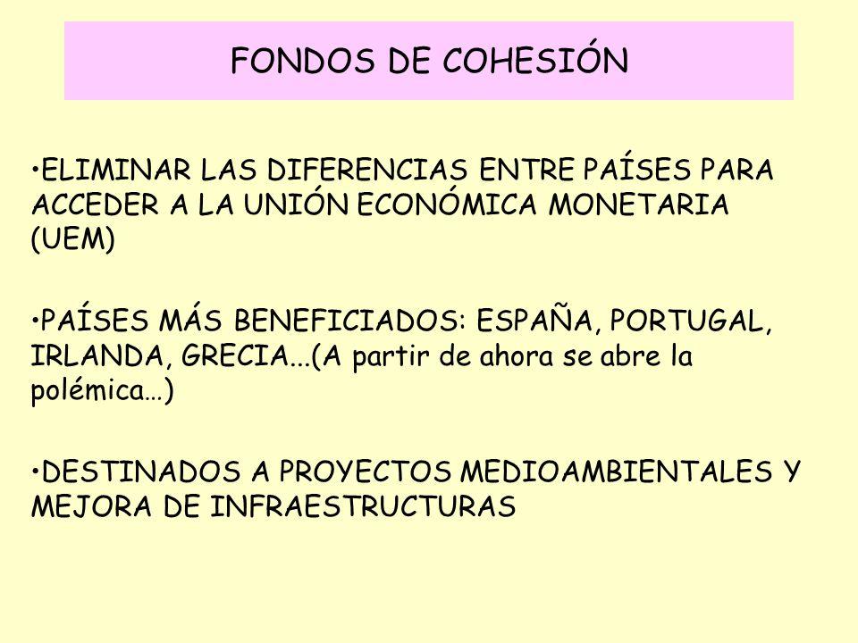 FONDOS DE COHESIÓN ELIMINAR LAS DIFERENCIAS ENTRE PAÍSES PARA ACCEDER A LA UNIÓN ECONÓMICA MONETARIA (UEM) PAÍSES MÁS BENEFICIADOS: ESPAÑA, PORTUGAL,