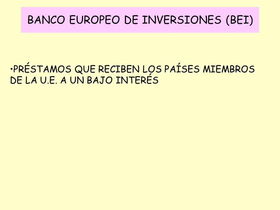 BANCO EUROPEO DE INVERSIONES (BEI) PRÉSTAMOS QUE RECIBEN LOS PAÍSES MIEMBROS DE LA U.E. A UN BAJO INTERÉS