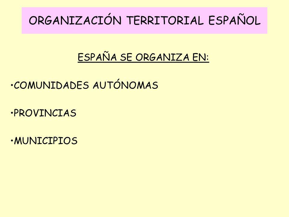 ESPAÑA SE ORGANIZA EN: COMUNIDADES AUTÓNOMAS PROVINCIAS MUNICIPIOS