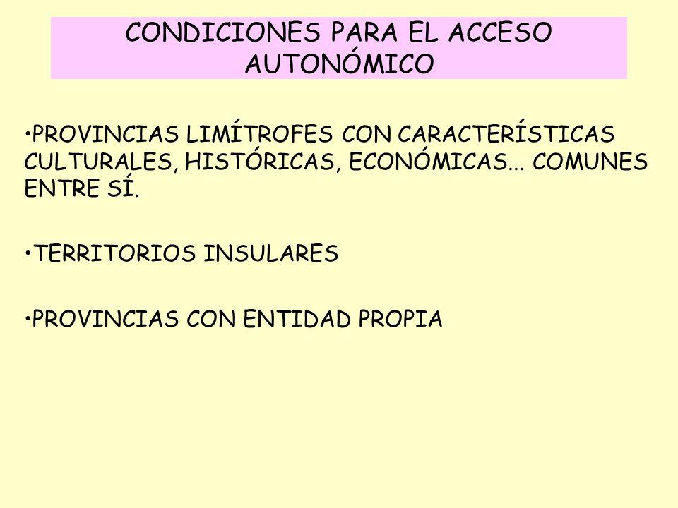 CONDICIONES PARA EL ACCESO AUTONÓMICO PROVINCIAS LIMÍTROFES CON CARACTERÍSTICAS CULTURALES, HISTÓRICAS, ECONÓMICAS... COMUNES ENTRE SÍ. TERRITORIOS IN