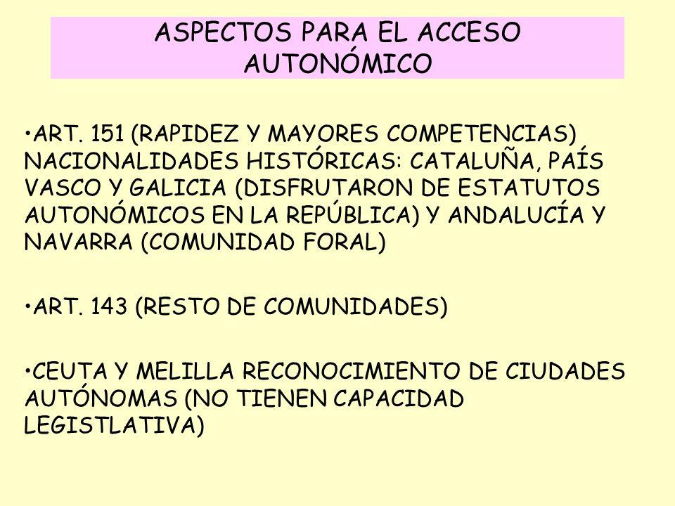 ASPECTOS PARA EL ACCESO AUTONÓMICO ART. 151 (RAPIDEZ Y MAYORES COMPETENCIAS) NACIONALIDADES HISTÓRICAS: CATALUÑA, PAÍS VASCO Y GALICIA (DISFRUTARON DE