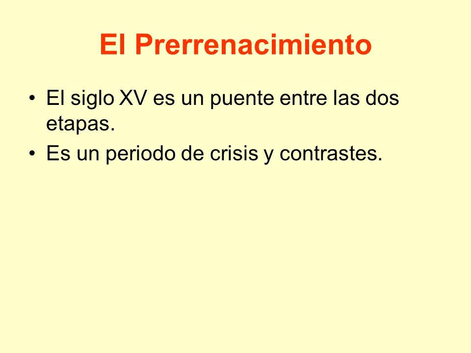 El Prerrenacimiento El siglo XV es un puente entre las dos etapas. Es un periodo de crisis y contrastes.