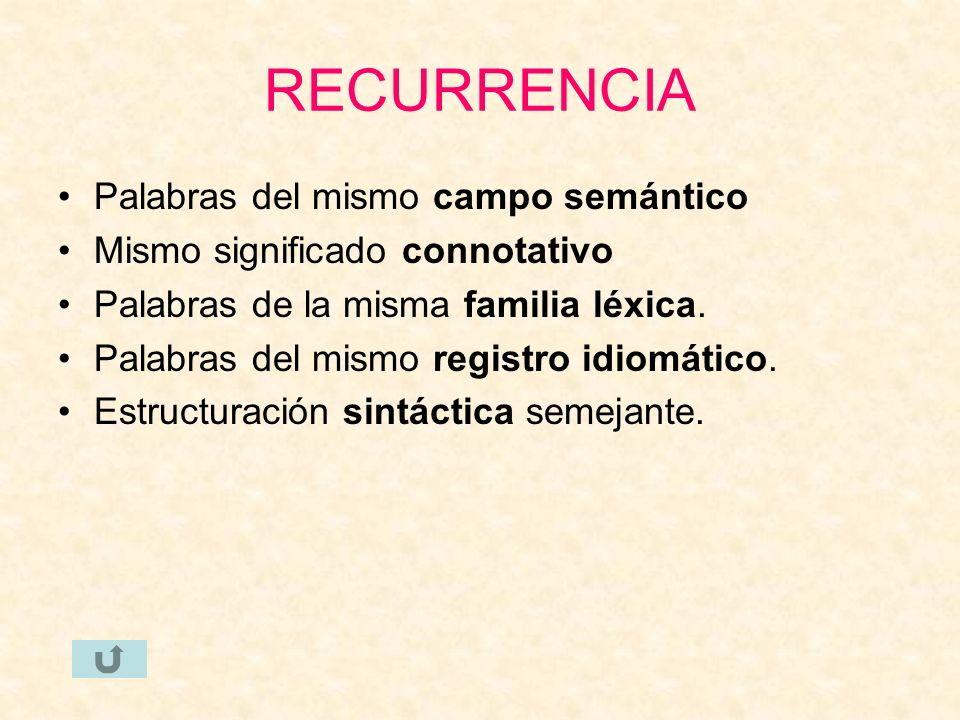 RECURRENCIA Palabras del mismo campo semántico Mismo significado connotativo Palabras de la misma familia léxica. Palabras del mismo registro idiomáti