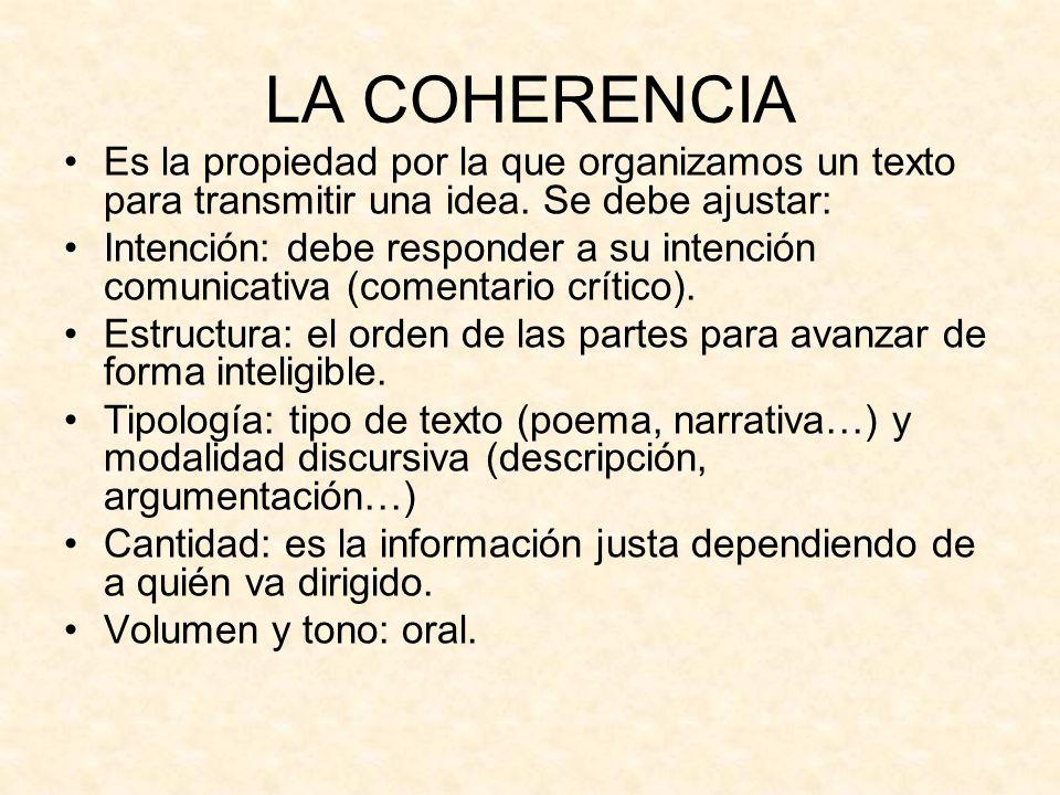 LA COHERENCIA Es la propiedad por la que organizamos un texto para transmitir una idea. Se debe ajustar: Intención: debe responder a su intención comu