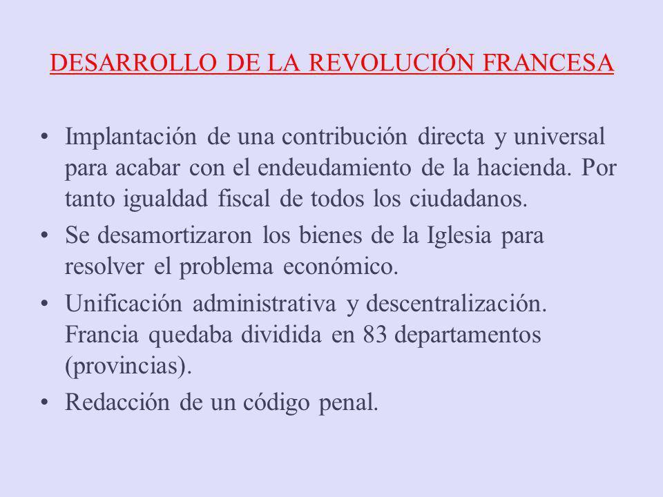 DESARROLLO DE LA REVOLUCIÓN FRANCESA Implantación de una contribución directa y universal para acabar con el endeudamiento de la hacienda. Por tanto i