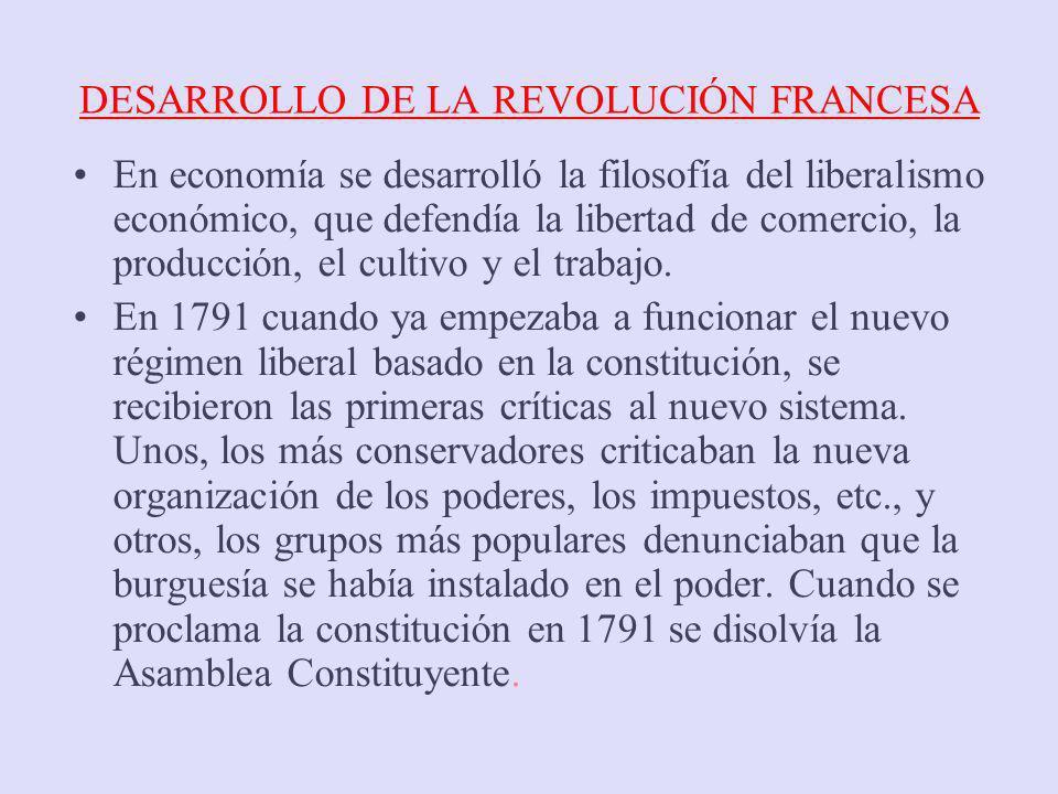 DESARROLLO DE LA REVOLUCIÓN FRANCESA En economía se desarrolló la filosofía del liberalismo económico, que defendía la libertad de comercio, la produc