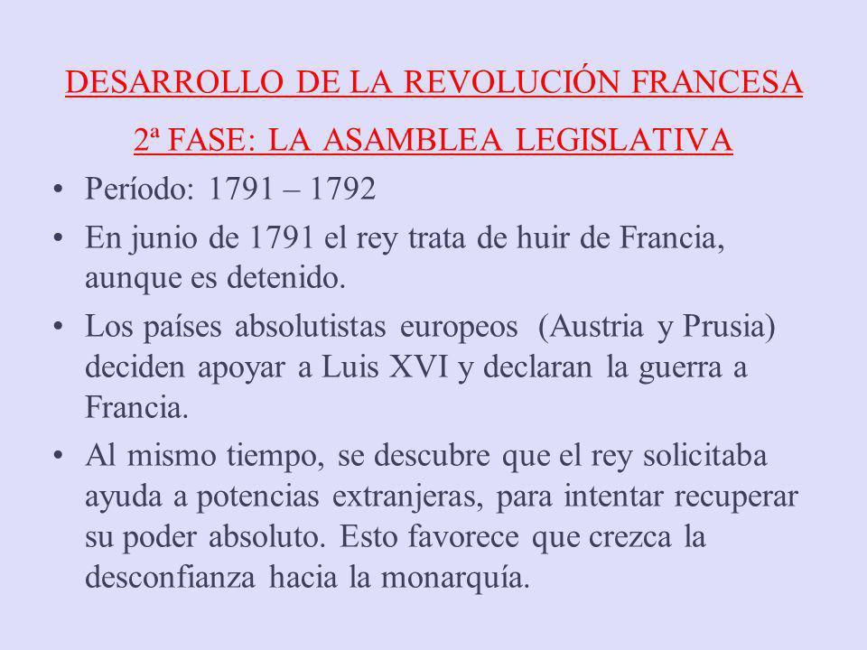 DESARROLLO DE LA REVOLUCIÓN FRANCESA 2ª FASE: LA ASAMBLEA LEGISLATIVA Período: 1791 – 1792 En junio de 1791 el rey trata de huir de Francia, aunque es