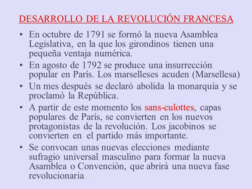 DESARROLLO DE LA REVOLUCIÓN FRANCESA En octubre de 1791 se formó la nueva Asamblea Legislativa, en la que los girondinos tienen una pequeña ventaja nu