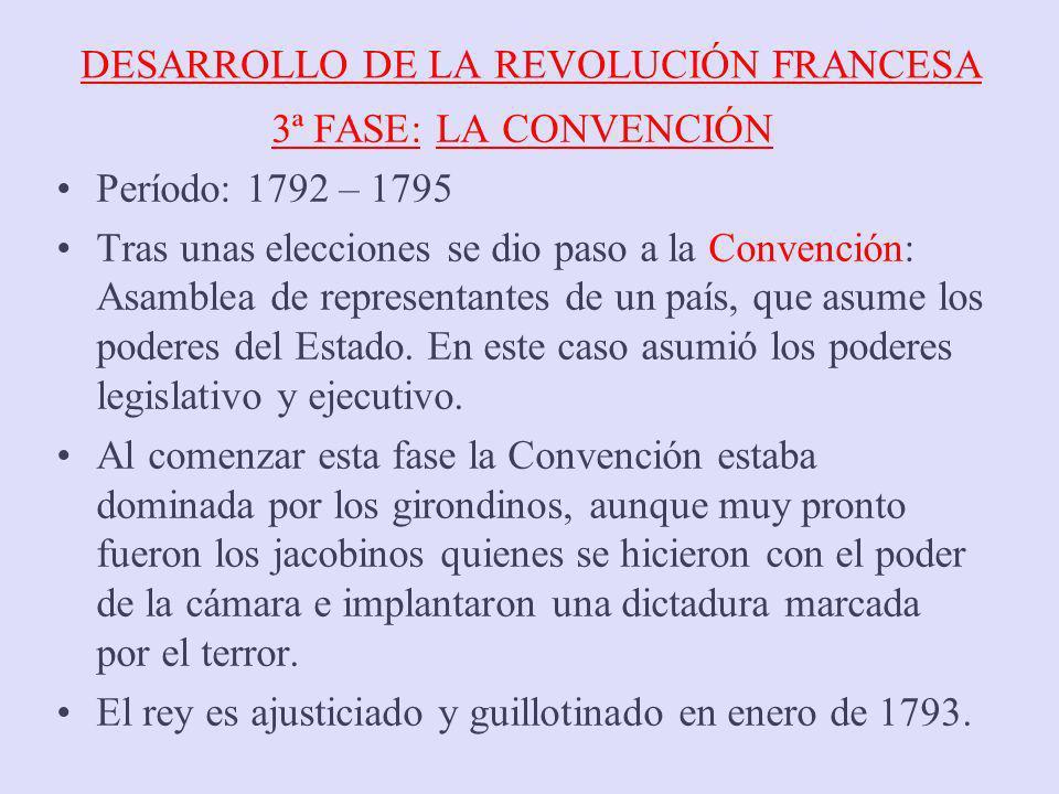 DESARROLLO DE LA REVOLUCIÓN FRANCESA 3ª FASE: LA CONVENCIÓN Período: 1792 – 1795 Tras unas elecciones se dio paso a la Convención: Asamblea de represe