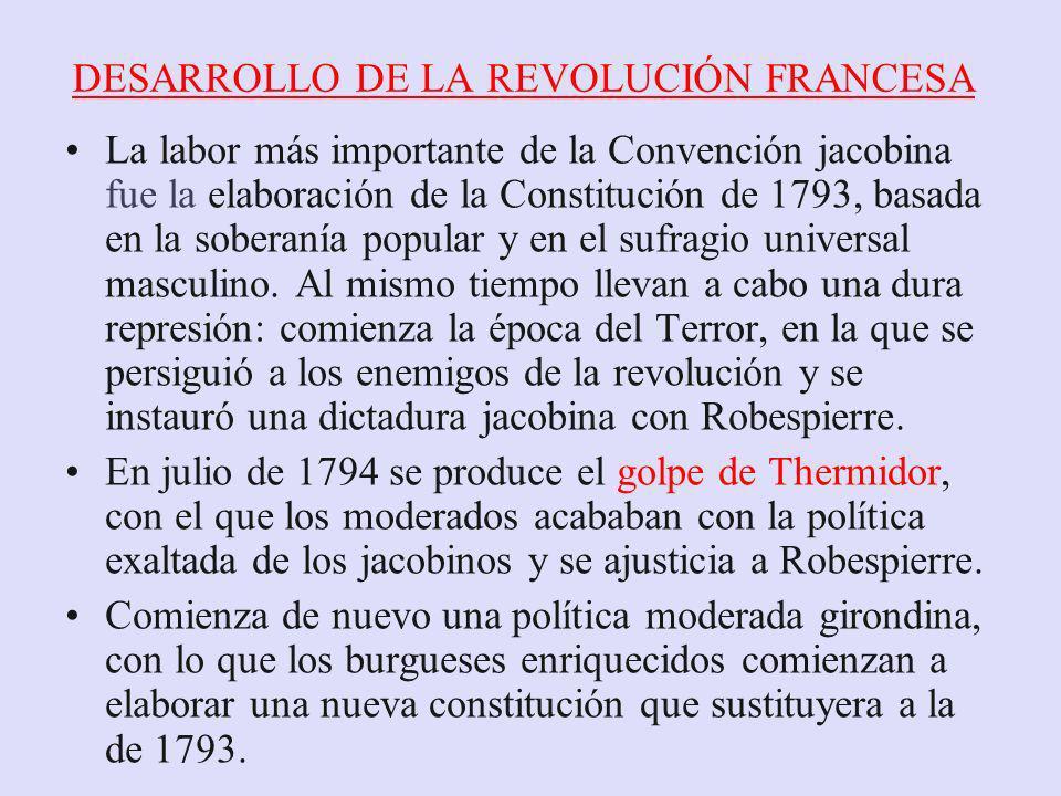 DESARROLLO DE LA REVOLUCIÓN FRANCESA La labor más importante de la Convención jacobina fue la elaboración de la Constitución de 1793, basada en la sob