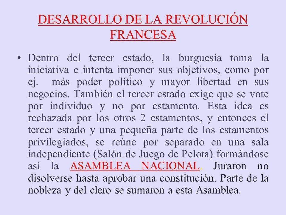 DESARROLLO DE LA REVOLUCIÓN FRANCESA Dentro del tercer estado, la burguesía toma la iniciativa e intenta imponer sus objetivos, como por ej. más poder