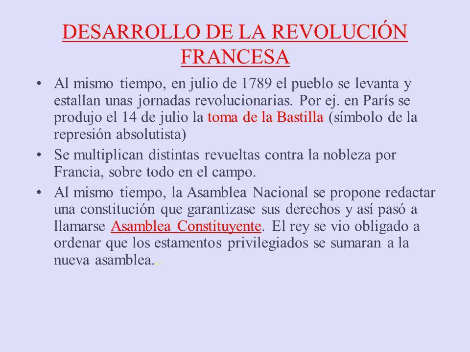DESARROLLO DE LA REVOLUCIÓN FRANCESA Al mismo tiempo, en julio de 1789 el pueblo se levanta y estallan unas jornadas revolucionarias. Por ej. en París