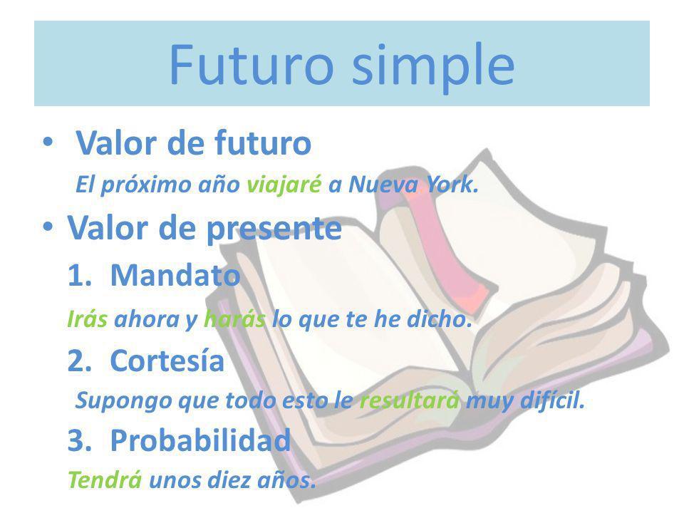 Futuro simple Valor de futuro El próximo año viajaré a Nueva York. Valor de presente 1.Mandato Irás ahora y harás lo que te he dicho. 2.Cortesía Supon