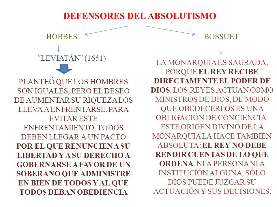 DEFENSORES DEL ABSOLUTISMO HOBBES PLANTEÓ QUE LOS HOMBRES SON IGUALES, PERO EL DESEO DE AUMENTAR SU RIQUEZA LOS LLEVA A ENFRENTARSE. PARA EVITAR ESTE
