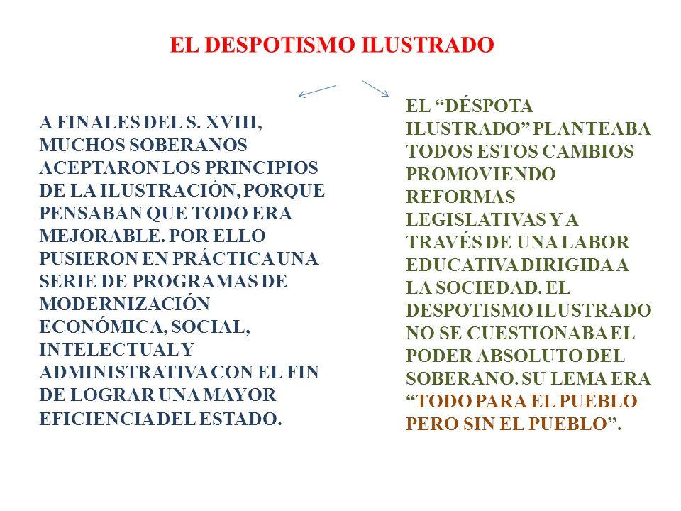 EL DESPOTISMO ILUSTRADO A FINALES DEL S. XVIII, MUCHOS SOBERANOS ACEPTARON LOS PRINCIPIOS DE LA ILUSTRACIÓN, PORQUE PENSABAN QUE TODO ERA MEJORABLE. P