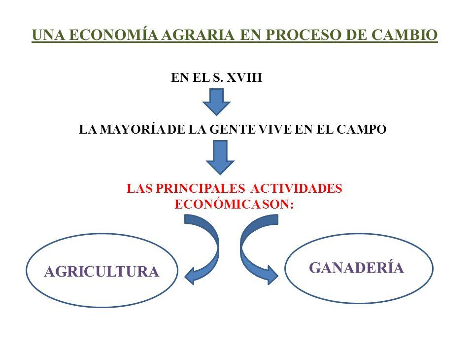 UNA ECONOMÍA AGRARIA EN PROCESO DE CAMBIO EN EL S. XVIII LA MAYORÍA DE LA GENTE VIVE EN EL CAMPO LAS PRINCIPALES ACTIVIDADES ECONÓMICA SON: AGRICULTUR